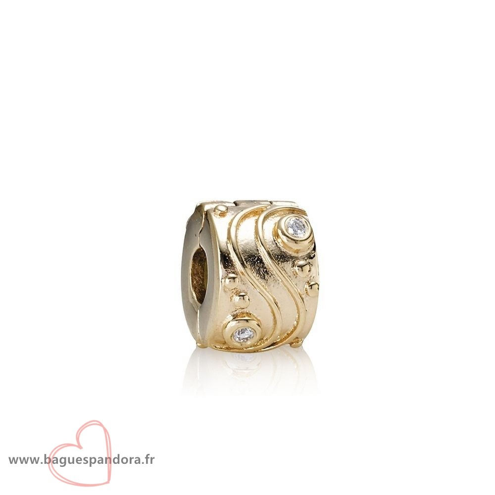Bas Prix Pandora Pandora Clips Breloques Babbling Brook Abstract Gold Clip Diamants Populaire