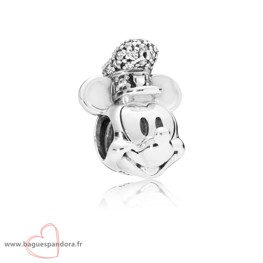 Bas Prix Pandora Charme Disney, Version Portrait De Mickey Steamboat Willie Scintillant Populaire