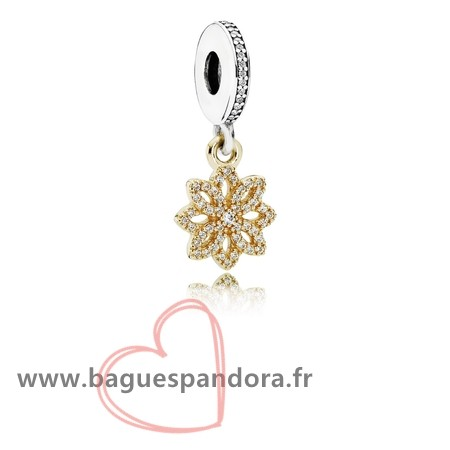 Bas Prix Pandora Pandora Nature Charms Dentelle Botanique Dangle Charm Clear Cz 14K Or Populaire